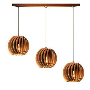 Pendente trio triplo de madeira | Canopla Retangular | 21x19cm | Soq: E-27 | Caramelo | Mod: Tulipa