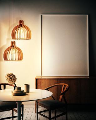Luminária Pendente Cirkel Caramelo em Madeira - Soq: E27 / Tam: 35x35,5cm