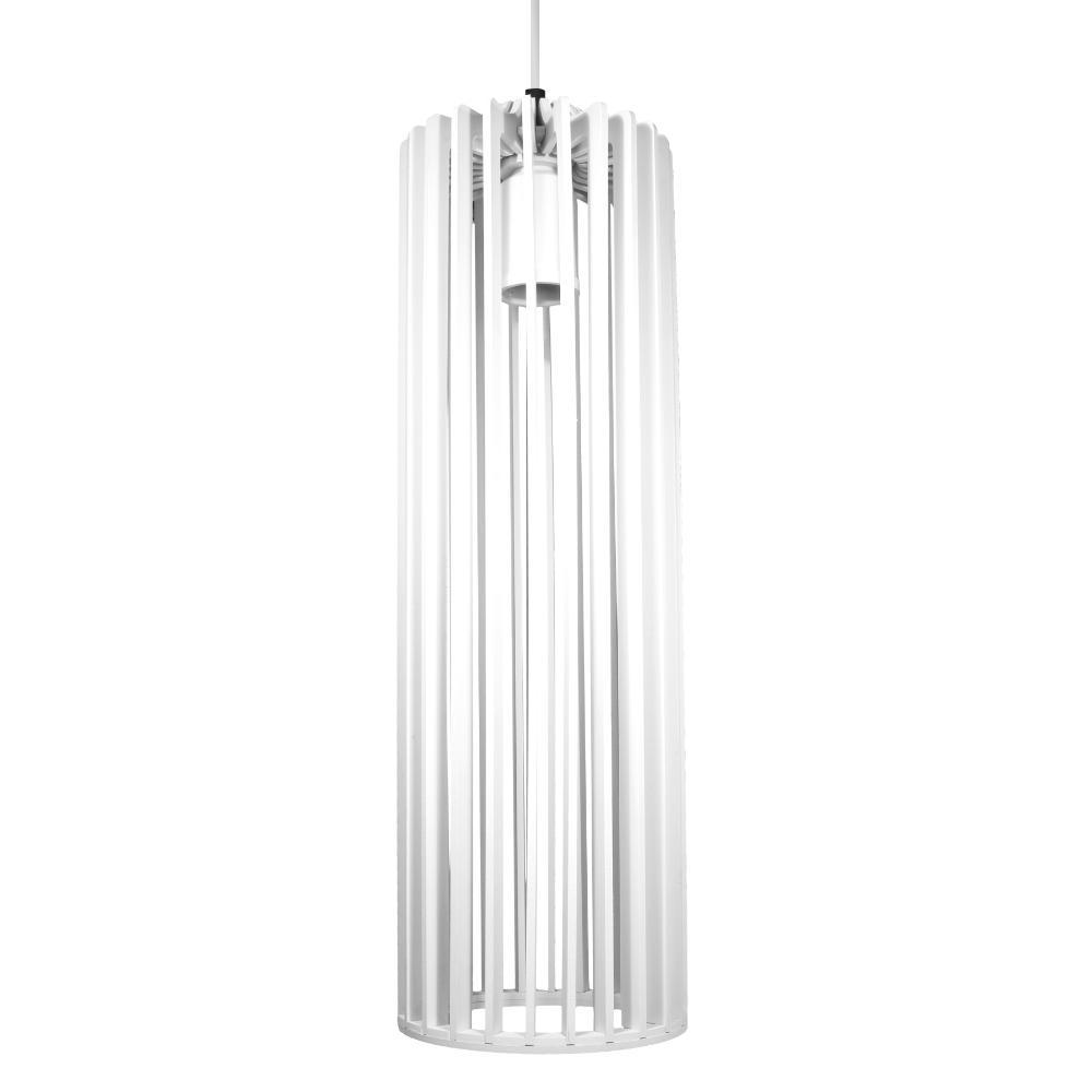 Luminária Pendente Angelico Branca de Madeira - Soq: E27 / Tam: 11x37cm