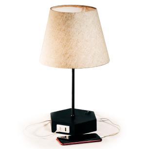 Abajur De Mesa com Design Hexagonal e Carregador USB | Preto com cúpula de tecido bege | Mod: Geometrico