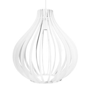 Luminária Gota Pendente Braga Branca de Madeira - Soq: E27 / Tam: 25x25,5cm