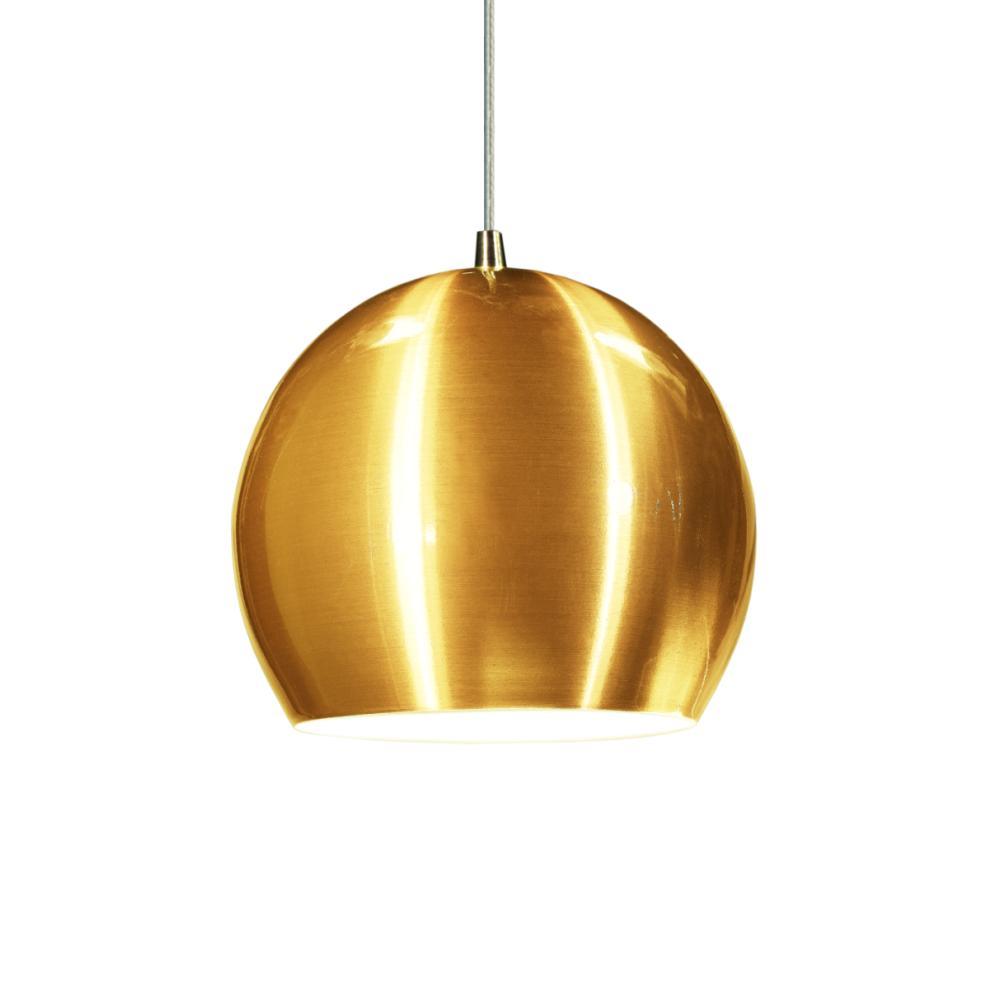 Luminária Pendente Meia Bola Conflate Tom Ouro de Alumínio - Soq: E27 / Tam: 14x13cm
