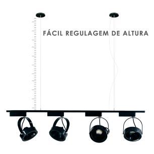 Trilho Eletrificado 1 metro com 4 Spots Preto | Suspenso Cabo de Aço | SOQ: AR111 2700K| COR: Preto com Preto| TAM: 1M | MOD: L3