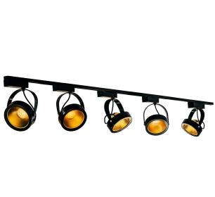 Trilho Eletrificado Preto 2m com 5 Spots AR111 Dourado LED 12W L3