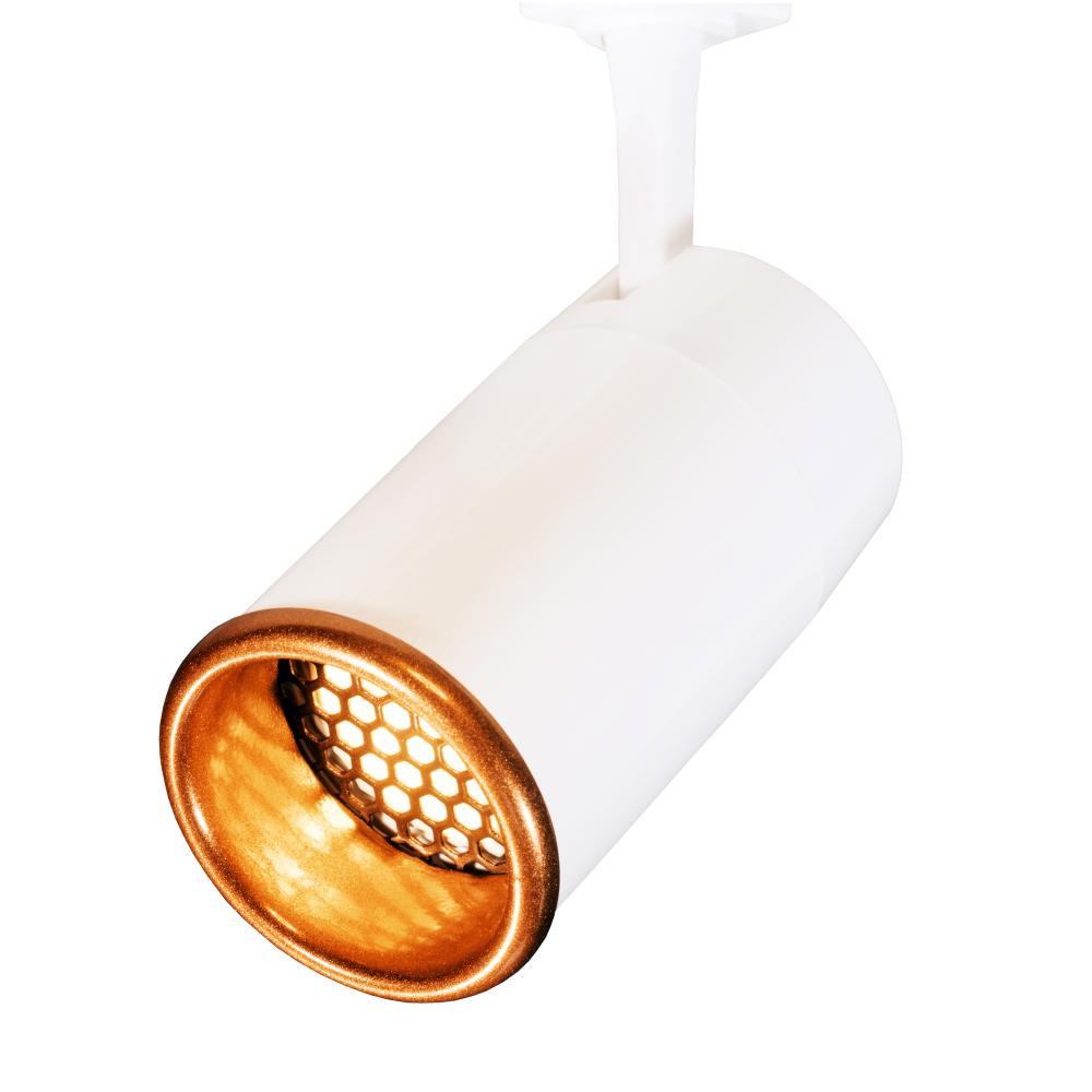 Trilho Eletrificado 2 metros com 7 Spots Branco SOQ: GU10 10W 2700K   COR: Branco com Cobre   TAM: 2M   MOD: Z5