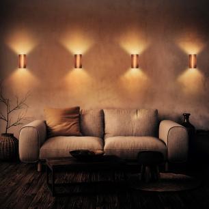 Arandela de Madeira Grega Caramelo com LED 420 Lúmens / Tam: 9x16cm / Luz: 2.700K