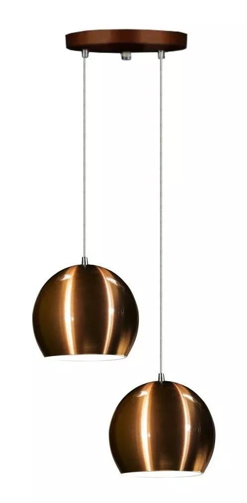 Lustre Pendente Duplo Meia Bola de Aluminio Soq: E27 | Cor:Cobre | Tam: 14m | Mod: Conflate Duplo