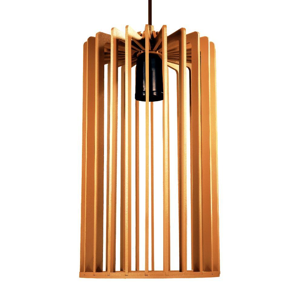 Luminária Pendente Rafaello Caramelo de Madeira - Soq: E27 / Tam: 16x28cm