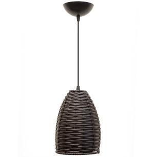 Lustre Pendente de Junco Taça Luminária Rústica | Cor: Tabaco | Tam: 18x16cm