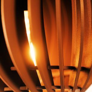 Pendente trio triplo de madeira | Canopla Redonda | 21x19cm | Soq: E-27 | Marfim | Mod: Tulipa