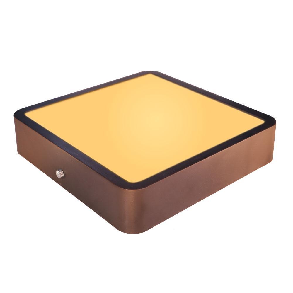 Luminária Plafon Sobrepor de LED Quadrado Marrom Tabaco 18W 2.700k