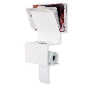 Suporte Porta Papel Higiênico Para Celular e Revista | Cor: Branco | Tam: 38cm | Mod: Bina