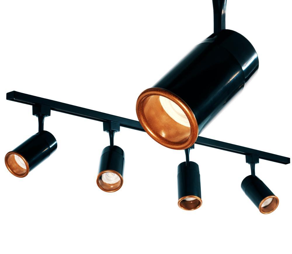 Trilho Eletrificado 1 m com 4 Spots Soq: GU10 | COR: Preto com Cobre | Spot: Led 7W 6.000k Branco Frio | Tam: 1 mt | Mod: Z4