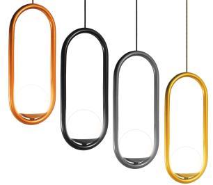 Luminária Pendente de Teto | Bola de Vidro e Tubo Curvado | Cor: Cinza Chumbo | Mod: Papilon