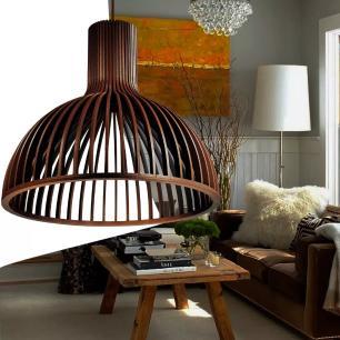 Luminária Pendente de Madeira | Cor: Café | Soq: E-27 | 45x41cm | Mod: Kuma
