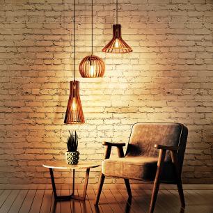 Conjunto Bold Marrom Café de 3 Luminárias Pendentes De Madeira na Canopla Retangular - Soq: E27