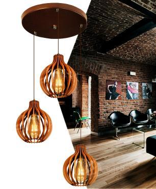 Pendente duplo de madeira | Canopla Redonda | 21x18cm | Soq: E-27 | Caramelo | Mod: Bali