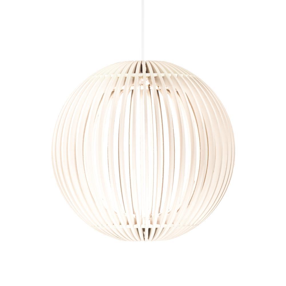 Luminária Pendente Pólux Branca de Madeira - LED 964 Lúmens / Tam: 20cm / Luz: 5.000K