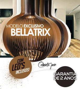 Luminária Pendente Octo Bellatrix Caramelo em Madeira  - LED 964 Lúmens / 2700K / Tam: 38x46cm