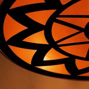 Lustre Pendente de Teto Meia Lua Desenhado   Tam: 40x20cm   Cobre   Mod: Mandala