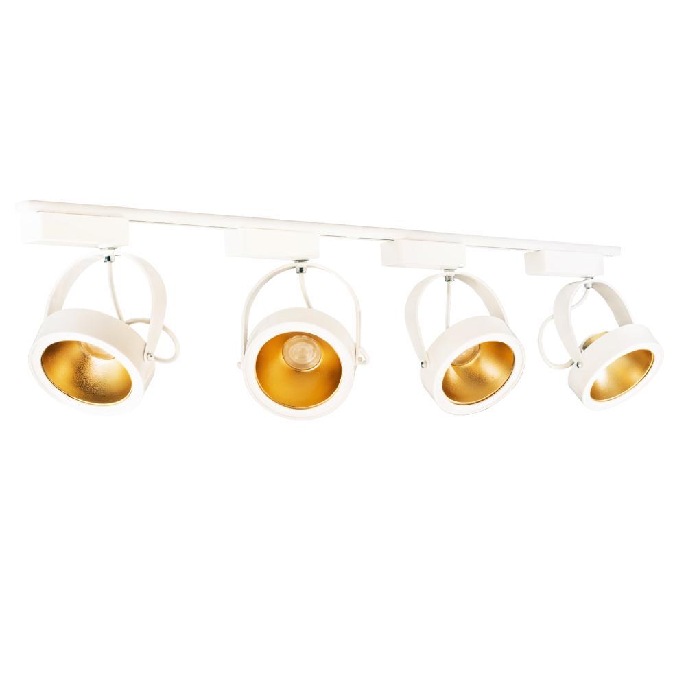 Trilho Eletrificado 1 metro com 4 Spots AR111 Branco com Lâmpada LED Dourado 12W L3