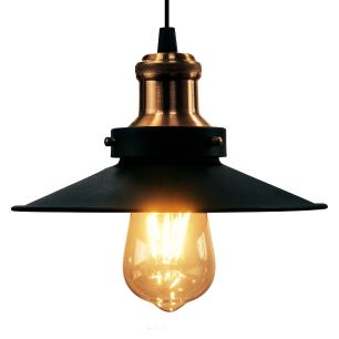 Luminária Pendente Chapéu Nordic Preto com Cobre Industrial - Soq: E27 / Tam: 26x12cm