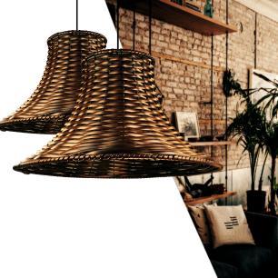 Lustre Pendente Em Junco Chapéu Chinês Luminária Rústica | Cor: Tabaco | Tam: 35cm