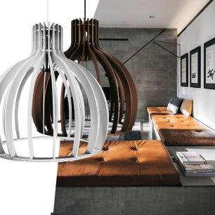 Luminária Pendente Cirkel Cinza em Madeira - Soq: E27 / Tam: 35x35,5cm