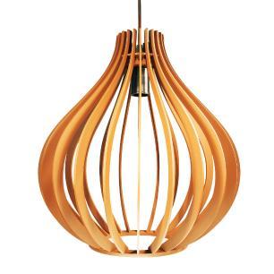 Luminária Gota Pendente Braga Caramelo de Madeira - Soq: E27 / Tam: 25x25,5cm