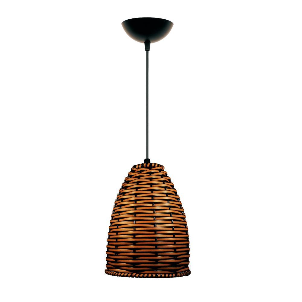 Lustre Pendente de Junco Taça Luminária Rústica | Cor: Avelã | Tam: 18x16cm