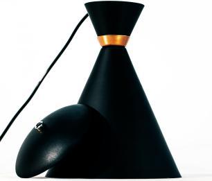 Lustre Pendente Design de Alumínio Munique Cor: Preto Com Cobre - Soq:E27 / Tam: 33x15cm