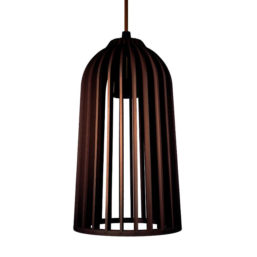 Luminária Pendente Giotto Marrom Café em Madeira - Soq: E27 / Tam: 14x25cm