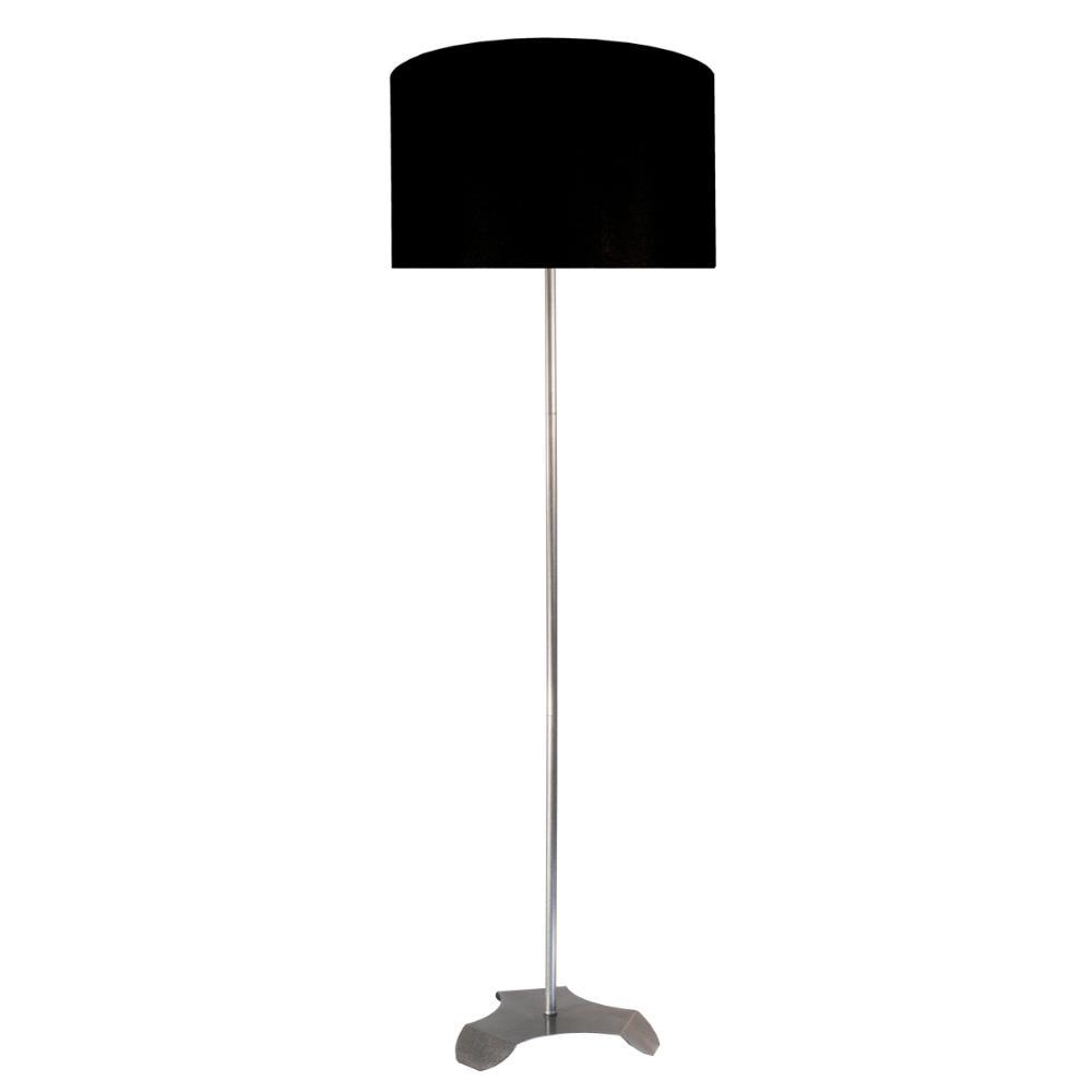 Abajur de Chão Tubeto | Cúpula preta 35cm | Soq: E27 | Cor: Prata | Tam: 150cm | Mod: Tubeto
