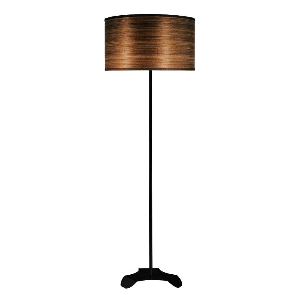 Abajur de Chão Tubeto | Cúpula de madeira 35cm | Soq: E27 | Cor: Preto | Tam: 150cm | Mod: Tubeto