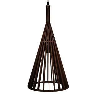 Luminária Pendente Canadá Marrom Café de Madeira - Soq: E27 / Tam: 21x39cm