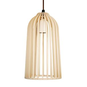 Luminária Pendente Giotto Marfim em Madeira - Soq: E27 / Tam: 14x25cm