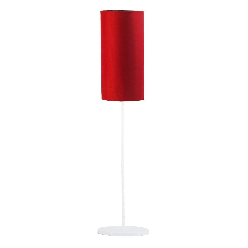 Abajur de Mesa Vela Classico Soq: E27 | Cor: Branco | Cúpula: Vermelha | Tam: 65cm | Mod: Vela