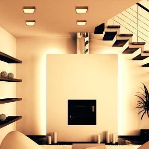Luminária Plafon Sobrepor de LED Quadrado Caramelo 18W 2.700K