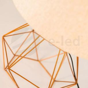Abajur de Mesa Aramado Diamante Grande Cobre com cúpula Preta