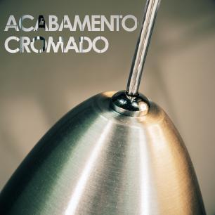 Luminária Pendente Cone de Alumínio Escovado - Soq: E27 / Tam: 13x19cm