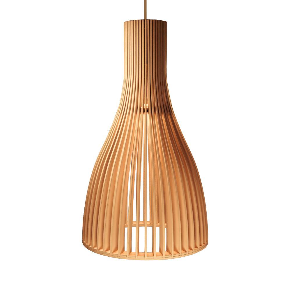 Luminária Pendente em Madeira - Tom: Caramelo | Soq: E27 | Tam: 22x37cm | Mod: Vega