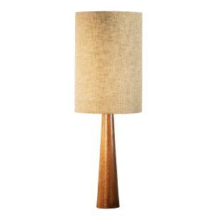 Abajur de Mesa em Madeira com Cúpula P de Tecido Bege Crua Tam: 20x60cm