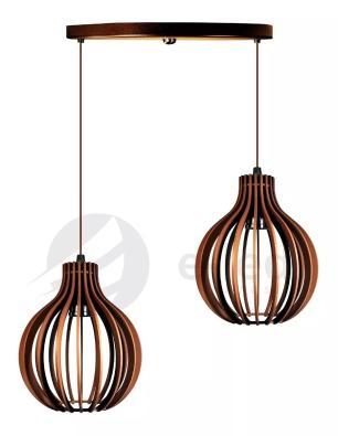 Pendente duplo de madeira | Canopla Redonda | 21x18cm | Soq: E-27 | Chocolate | Mod: Bali