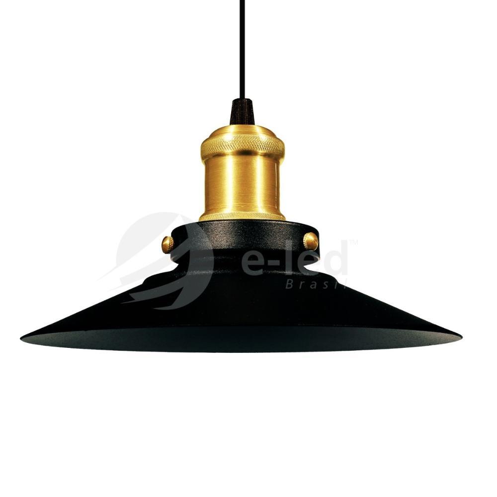 Luminária Pendente Chapéu Nordic Preto com Ouro Industrial - Soq: E27 / Tam: 22x12cm