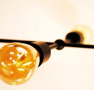 Luminária Sputnik Gun 6 hastes Fio Ajustável e Desviador Soq E27   Cor Prata   Tam 60cm   Mod Gun