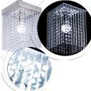 Lustre Pendente de Cristal Acrílico Vazado Prata  Base: 25x25cm   Mod: Cecia