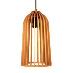 Luminária Pendente Giotto Caramelo em Madeira - Soq: E27 / Tam: 14x25cm