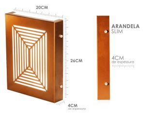 Arandela Slim Externa Interna 2 Focos Flat Decor Cor: Preta Modelo: Gris