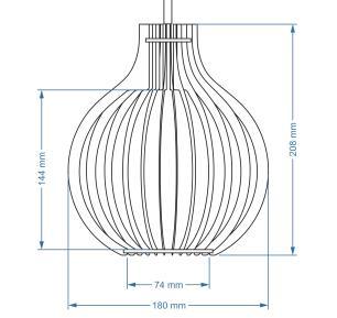 Pendente triplo trio de madeira | Canopla Retangular | 35x24cm | Soq: E-27 | Caramelo | Mod: Bali