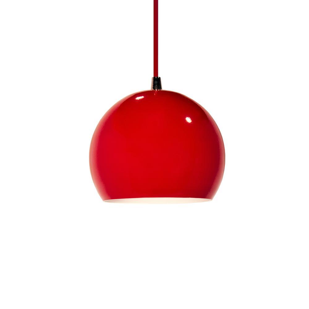 Luminária Pendente Meia Bola Conflate Vermelho de Alumínio - Soq: E27 / Tam: 14x13cm